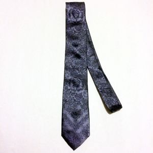 Christian Lacroix Floral Silver Brocade Silk Tie